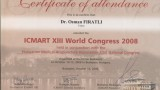 ICMART XIII World Congress 2008 Certificate